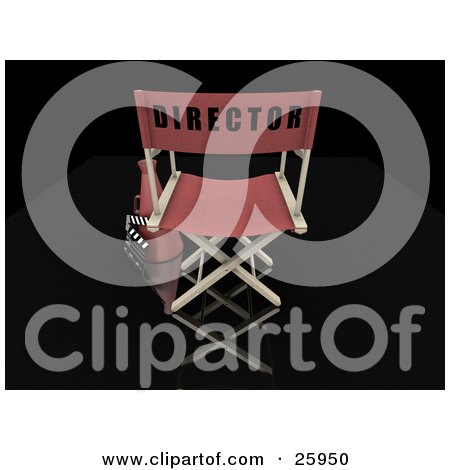 Clipart Illustration of a Movie Director's Chair With A Loud Hailer And Clapper, With A Black Background by KJ Pargeter