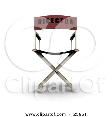Clipart Illustration of The Back Of A Red Director's Chair, Over White by KJ Pargeter
