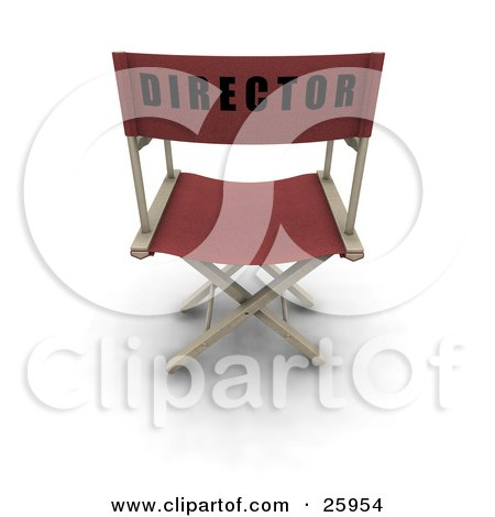Clipart Illustration of a Red Chair With Director On The Back, Over White by KJ Pargeter