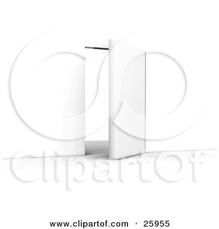 Clipart Illustration of an Open White Door Leading To The Unknown by KJ Pargeter