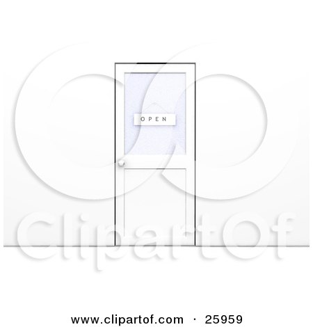 Clipart Illustration of a Closed Office Door With An Open Sign Hanging On The Window by KJ Pargeter