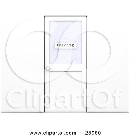 Clipart Illustration of a Closed Office Door With A Private Sign Hanging On The Window by KJ Pargeter