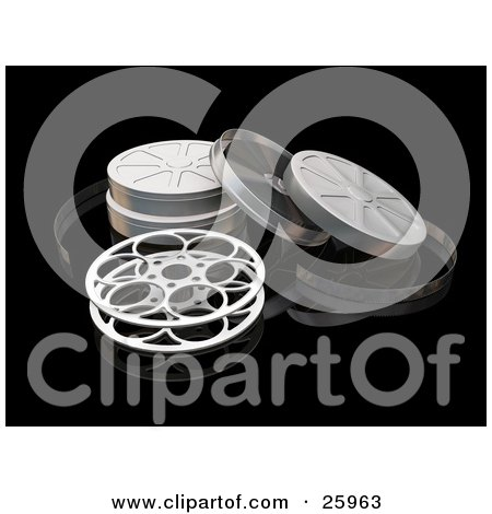 Clipart Illustration of an Open Movie Film Reel And Cases Over A Reflective Black Surface by KJ Pargeter