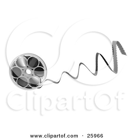 Clipart Illustration of Film Coming Out Of A Metal Reel, Over White by KJ Pargeter