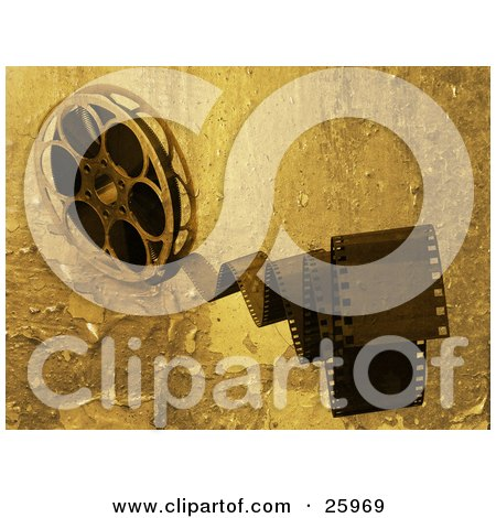 Clipart Illustration of Movie Film Snapping Forwards, Spinning From A Movie Reel, With A Peeling Grunge Texture by KJ Pargeter