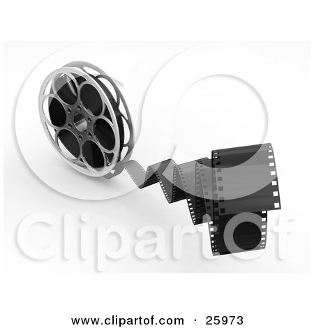 Clipart Illustration of Movie Film Snapping Forwards, Spinning From A Movie Reel, Over White by KJ Pargeter