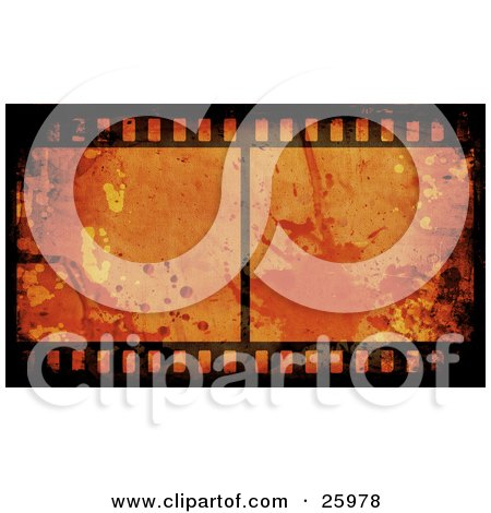Clipart Illustration of a Film Strip With An Orange Splattered Grunge Background by KJ Pargeter
