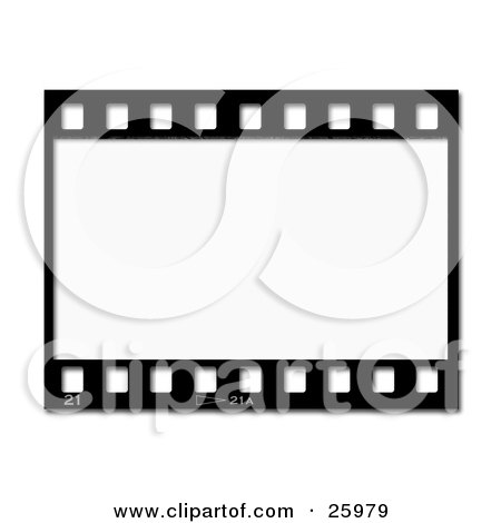 Clipart Illustration of One Black And White Negative Photography Film Strip by KJ Pargeter