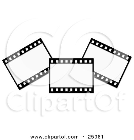 Clipart Illustration of Three Film Strip Negatives Over White by KJ Pargeter