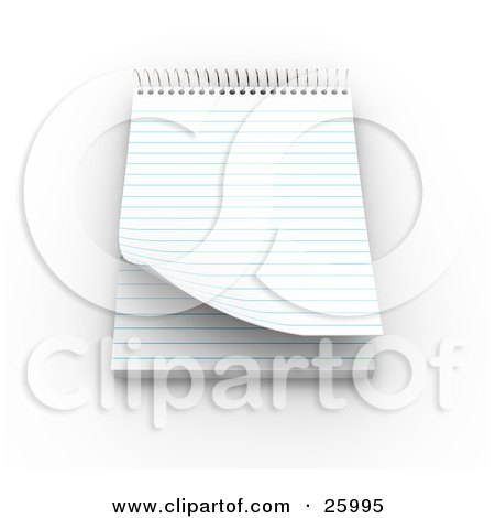 Clipart Illustration of a Spiraled Notepad With Blank Pages, Resting On A White Surface by KJ Pargeter