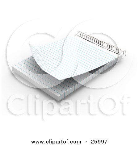 Clipart Illustration of a Spiral Notepad With Blank Pages, Resting On A White Surface by KJ Pargeter