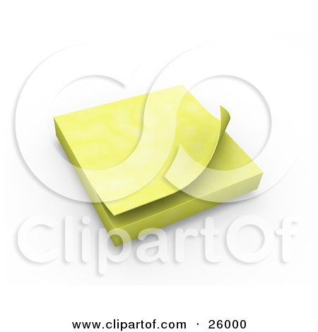 Clipart Illustration of a Block Of Yellow Sticky Notes Resting On A Desk, Over White by KJ Pargeter