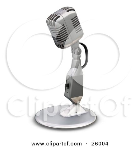 Clipart Illustration of a Chrome Vintage Microphone With A Little Table Top Stand, On A White Background by KJ Pargeter