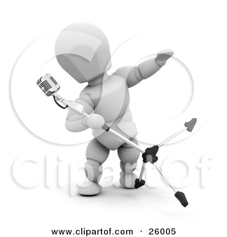 Clipart Illustration of a White Character Tipping And Singing Into A Vintage Microphone In A Recording Studio by KJ Pargeter