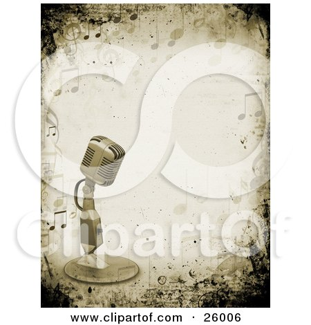 Clipart Illustration of a Retro Microphone Over A Grunge Background Bordered By Music Notes by KJ Pargeter