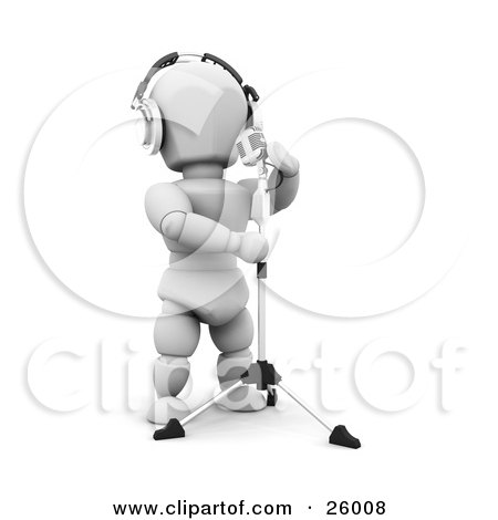 Clipart Illustration of a White Character Wearing Headphones And Singing Into A Vintage Microphone In A Recording Studio by KJ Pargeter