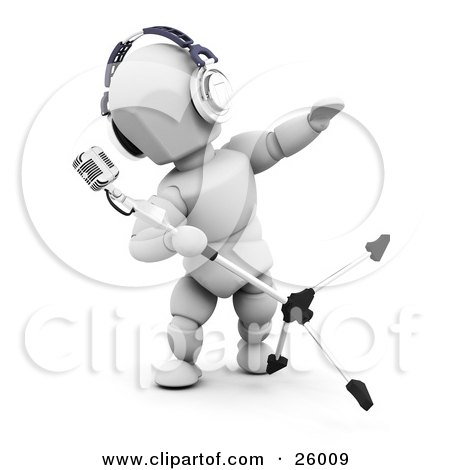 Clipart Illustration of a White Character Wearing Headphones, Tipping And Singing Into A Vintage Microphone In A Recording Studio by KJ Pargeter
