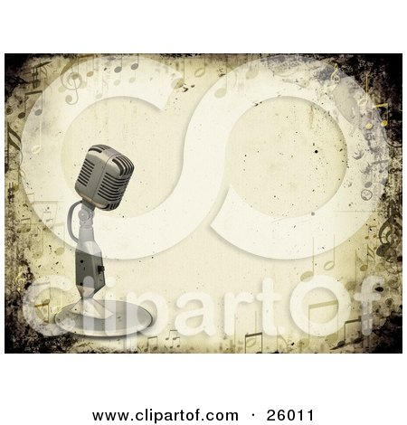 Clipart Illustration of a Vintage Microphone Over A Grunge Background Bordered By Music Notes by KJ Pargeter