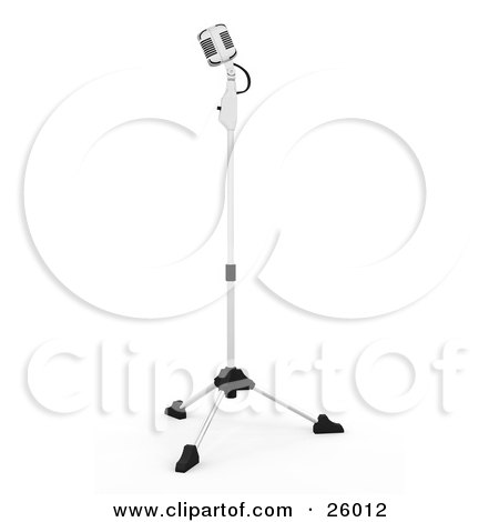 Clipart Illustration of a Retro Microphone On A Stand In A Recording Studio, On A White Background by KJ Pargeter