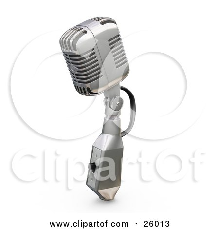 Clipart Illustration of a Vintage Microphone With A Switch, On A White Background by KJ Pargeter