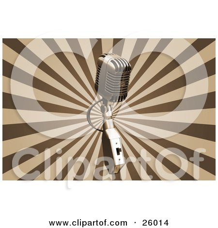 Clipart Illustration of a Chrome Vintage Microphone Over A Bursting Brown And Tan Background by KJ Pargeter