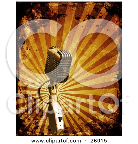 Retro Microphone Over A Bursting Orange Background With Grunge Splatters.