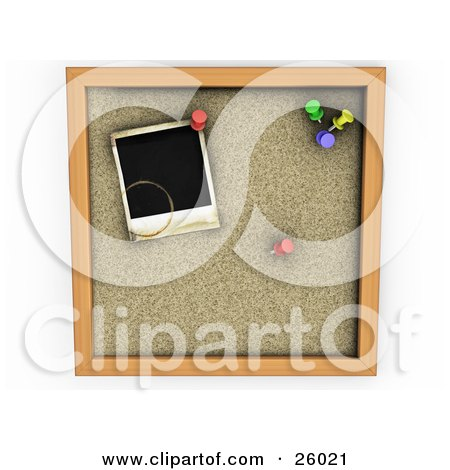 Clipart Illustration of a Black Stained Polaroid Picture With Colorful Pins On A Cork Board by KJ Pargeter
