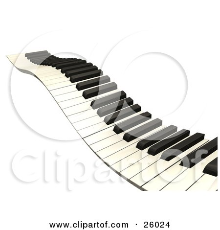 Clipart Illustration of a Wavy Keyboard Heading Off Into The Distance, Over A White Background by KJ Pargeter