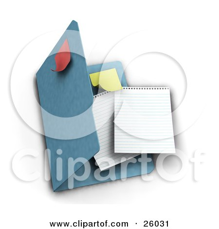 Clipart Illustration of Two Blank Sheets Of Paper And A Yellow Sticky Note Inside A Blue Folder With A Red Note On Top, Over White by KJ Pargeter