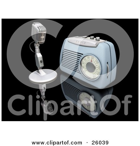 Clipart Illustration of a Retro Microphone And Blue Radio On A Reflective Black Surface by KJ Pargeter