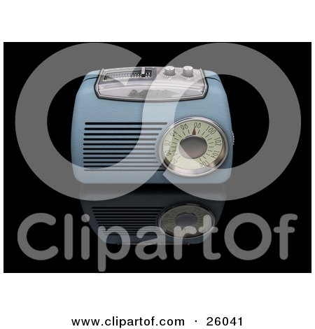 Clipart Illustration of a Vintage Blue Radio With A Station Tuner, On A Reflective Black Surface by KJ Pargeter