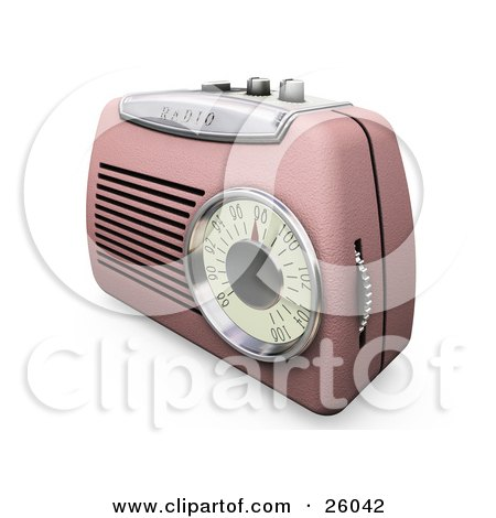 Clipart Illustration of a Retro Pink Radio With A Station Dial, On A White Surface by KJ Pargeter