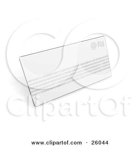 Clipart Illustration of a White Envelope With Rows Of Binary Coding, Over White by KJ Pargeter