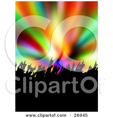 Clipart Illustration Of Silhouetted People Waving Their Hands At A Concert Over A Colorful Background