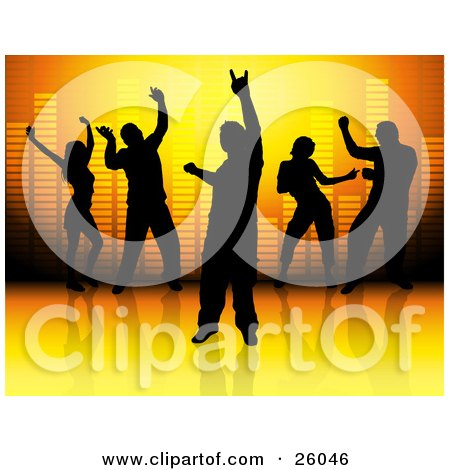 Clipart Illustration Of Men And Women Silhouetted And Dancing Against A Volumizer Background On A Reflective Surface