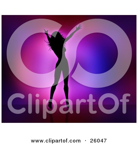 Clipart Illustration Of A Silhouetted Celebrity Woman Dancing And Singing On Stage Against A Pink Purple And Blue Background