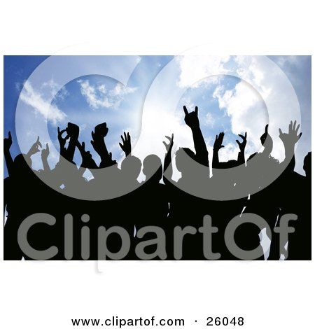 Clipart Illustration Of Silhouetted People Holding Their Hands In The Air Against A Sunburst In A Blue Sky