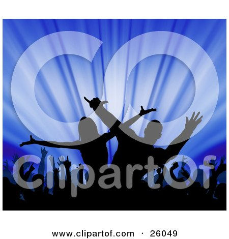 Clipart Illustration of a Silhouetted Man And Woman Dancing Hip Hop On A Stage With An Excited Audience, Over Blue by KJ Pargeter