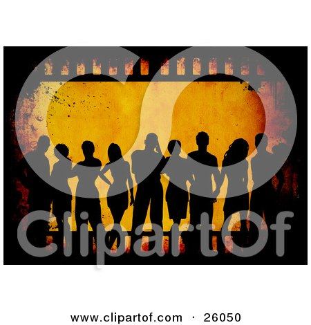 Clipart Illustration of Silhouetted Men And Women Over An Orange Grunge Background With A Film Strip by KJ Pargeter