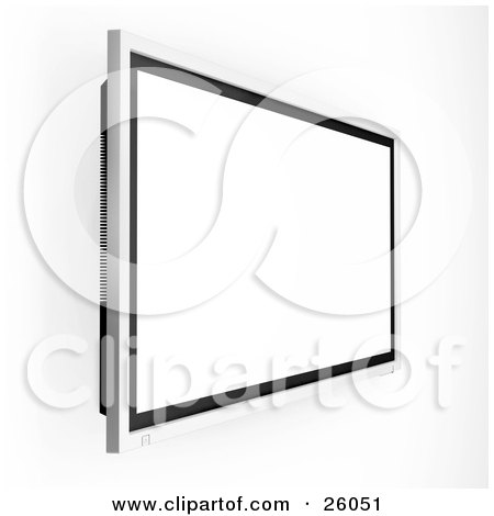 Clipart Illustration of a Wall Mounted Big Screen Plasma Tv With A Blank White Screen by KJ Pargeter