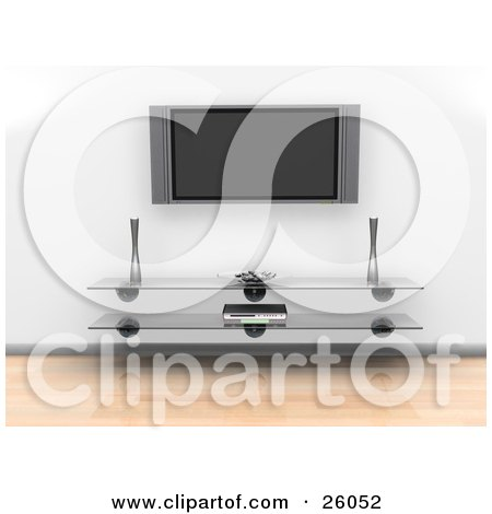 Clipart Illustration of a Wall Mounted Plasma Television Suspended Over A Glass Table In A Living Room With Wood Flooring by KJ Pargeter