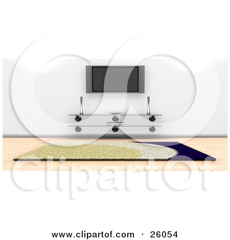 Clipart Illustration of a Wall Mounted Plasma Tv Over A Glass Table In A Living Room With A Rug And Wood Flooring by KJ Pargeter