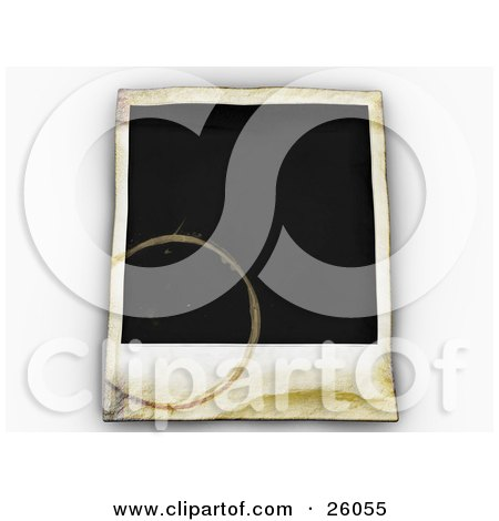Clipart Illustration of a Blank Polaroid Picture With Water Stains, Over White by KJ Pargeter