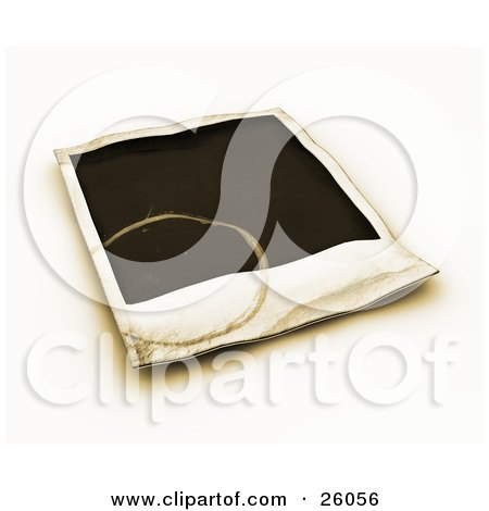 Clipart Illustration of a Stained Blank Polaroid Picture Over White by KJ Pargeter