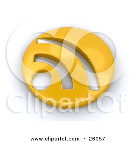 Clipart Illustration of a Golden Circle RSS Symbol, On A White Background by KJ Pargeter