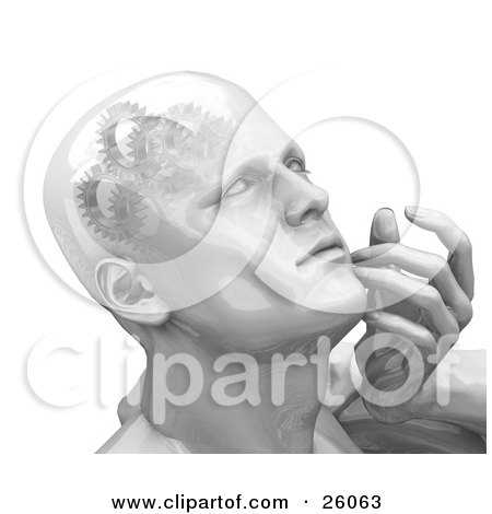 Clipart Illustration of a Shiny Man's Head With Cogs And Gears In His Brain, Touching His Face While Thinking by KJ Pargeter