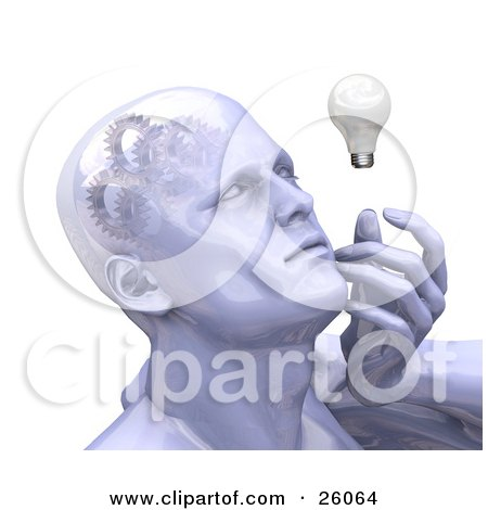 Clipart Illustration of a Shiny Man's Head With Cogs And Gears In His Brain, Touching His Face And Looking At A Light Bulb While Thinking by KJ Pargeter