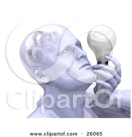 Clipart Illustration of a Shiny Man's Head With Cogs And Gears In His Brain, Holding A Lightbulb by KJ Pargeter