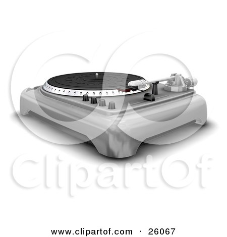 Clipart Illustration of a Retro Silver Turntable With The Spinner, Needle And Knobs, Over White by KJ Pargeter