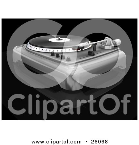 Clipart Illustration of a Retro Silver Turntable With The Spinner, Needle And Knobs, On A Black Reflective Surface by KJ Pargeter